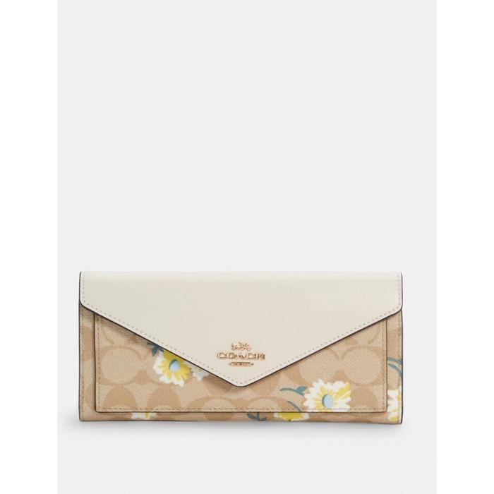 SLIM ENVELOPE WALLET IN SIGNATURE CANVAS WITH DAISY PRINT