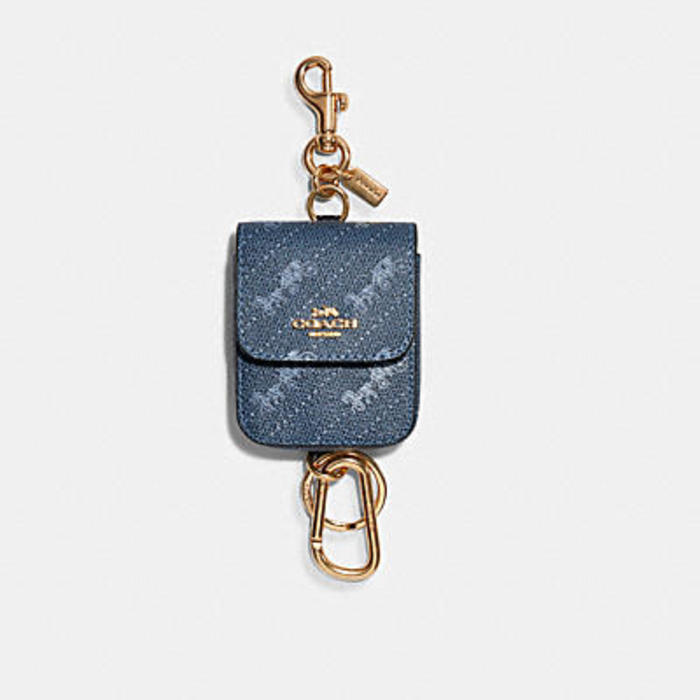 MULTI ATTACHMENTS CASE BAG CHARM WITH HORSE AND CARRIAGE DOT PRINT
