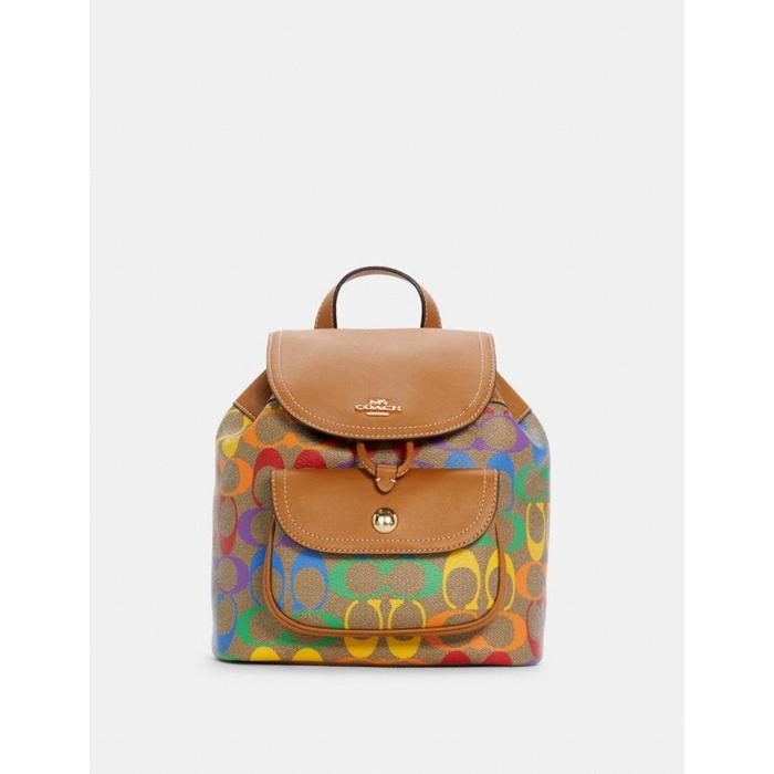 COACH PENNIE BACKPACK 22 IN RAINBOW SIGNATURE CANVAS