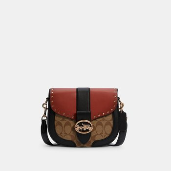 COACH GEORGIE SADDLE BAG IN COLORBLOCK SIGNATURE CANVAS WITH RIVETS