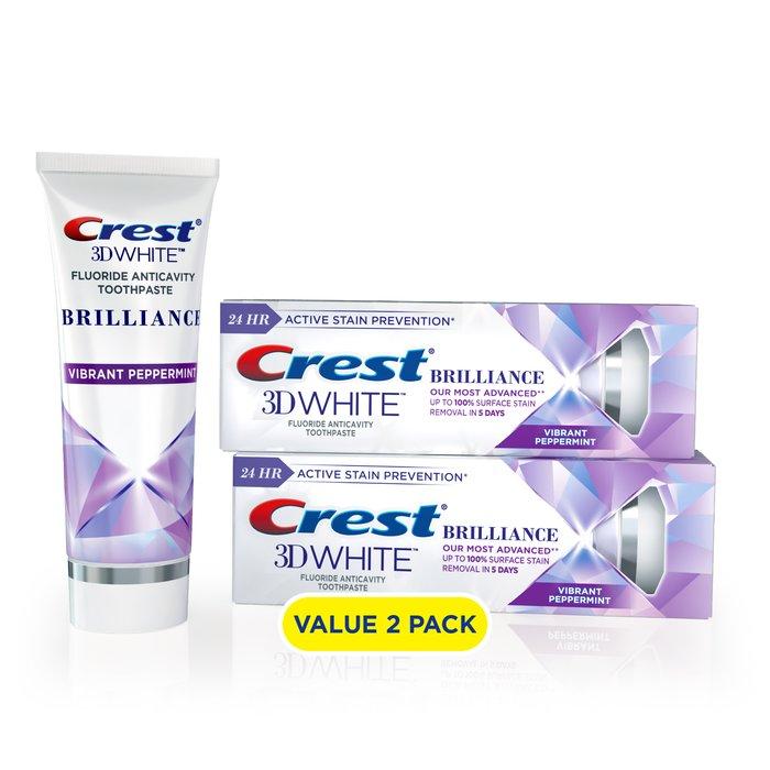 Kem Đánh Răng Crest 3D White Brilliance Teeth Whitening Toothpaste, Peppermint, 3.9 Oz, 2 pack